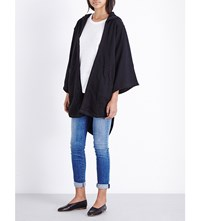 Basic Terrain Kimono Sleeve Cotton Hoody Black