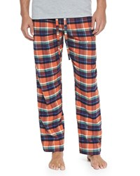 Neiman Marcus Plaid Two Piece Pajama Set Orange