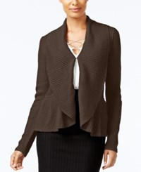 Cable And Gauge Ruffled Shawl Collar Cardigan Java Brown