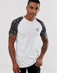 Good For Nothing Muscle T Shirt With Paisley Raglan Sleeves In White