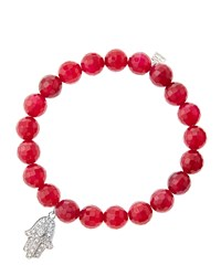 Sydney Evan 8Mm Faceted Red Agate Beaded Bracelet With 14K White Gold Diamond Medium Hamsa Charm Made To Order Size M