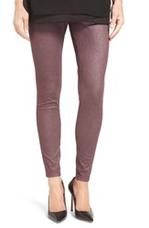 Hue Women's Shimmer Denim Leggings Deep Burgundy