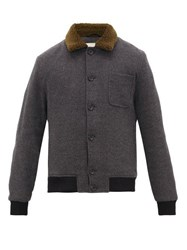 Oliver Spencer Foxham Quilted Wool And Cotton Blend Jacket Grey
