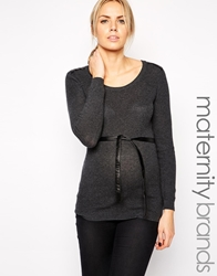 Mama.Licious Anna Long Sleeve Belted Jumper With Pu Shoulder Panels Mediumgreymelange