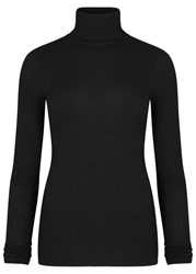 J Brand Centro Black Roll Neck Stretch Cotton Top