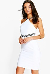 Boohoo Sadelle Sports Rib High Neck Rib Bodycon Dress Cream