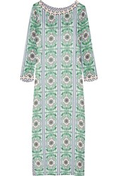 Tory Burch Garden Party Beaded Printed Silk Chiffon Maxi Dress Green