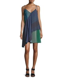 Opening Ceremony Foulard Printed Silk Wrap Dress Green Blue Multi