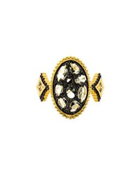 Freida Rothman Pebbled Oval Cz Stones Ring Black Gold