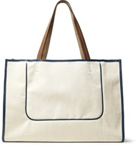 Connolly Leather Trimmed Canvas Tote Bag Off White