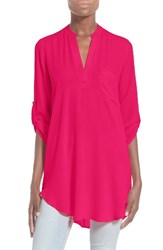 Lush Women's 'Perfect' Roll Tab Sleeve Tunic Cerise