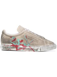 Xander Zhou Distressed Painted Trainers Men Leather Suede Rubber 44 Nude Neutrals