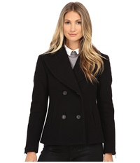Nicole Miller Double Breasted Peacoat With Shouler Detailing Black Women's Coat