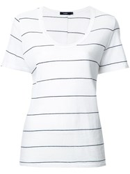 Bassike Stripe Scoop Neck T Shirt White