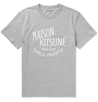 Maison Kitsune Slim Fit Printed Cotton Jersey T Shirt Gray