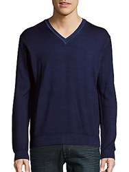 Sand Solid Merino Wool V Neck Sweater Navy
