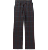 Camoshita Checked Wool And Linen Blend Drawstring Trousers Navy