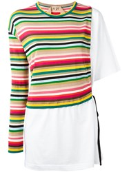 N 21 No21 Striped Knitted T Shirt White