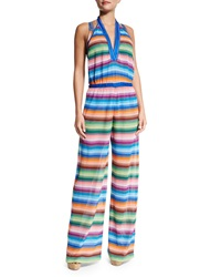 Missoni Mare Striped Halter Neck Jumpsuit Coverup