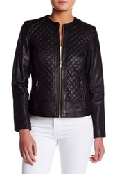 Cole Haan Quilted Genuine Leather Jacket Black