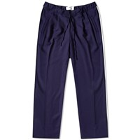 Dima Leu Wool Gabardine Pleated Trouser Blue