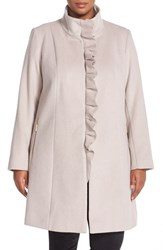 Plus Size Women's Tahari 'Kenya' Ruffle Placket Wool Blend Coat