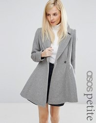 Asos Petite Skater Coat In Wool Blend With Oversized Collar And Self Belt Grey