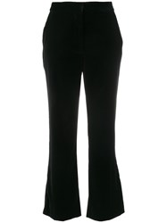 Stella Mccartney Cropped Flared Trousers Silk Polyester Black
