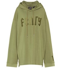 Fenty By Rihanna Embroidered Cotton Blend Hoodie Green