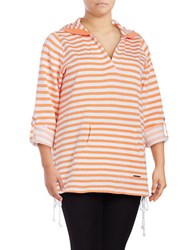 Marc New York Striped Active Pullover Creamsicle White