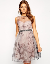 Little Mistress Printed Organza Prom Dress With Embellished Waist Multi