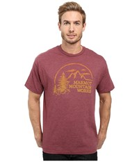 Marmot Halation Short Sleeve Tee Burgundy Heather Men's Clothing