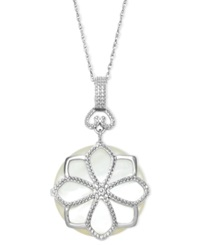 Macy's Sterling Silver Necklace Mother Of Pearl Flower Pendant