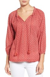 Velvet By Graham And Spencer Women's Print Cotton Peasant Blouse