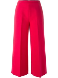 Msgm Cropped Tailored Trousers Pink And Purple