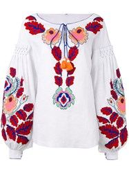 Yuliya Magdych 'Eden Tree' Embroidered Blouse Women Linen Flax M White
