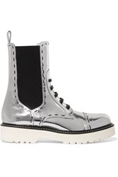 Dolce And Gabbana Metallic Leather Boots Silver