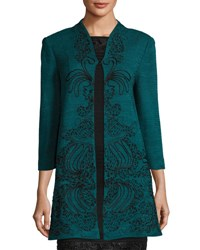 Ming Wang 3 4 Sleeve Embroidered Knit Jacket Multi