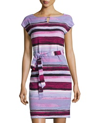 Marc New York By Andrew Marc Striped Cap Sleeve Sheath Dress Berry