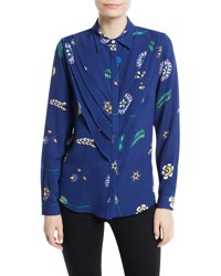 Novis Waterford Button Front Layered Silk Blouse Multi Pattern