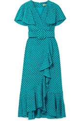 Michael Kors Collection Wrap Effect Ruffled Polka Dot Silk Crepe Midi Dress Turquoise