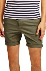 Topman Skinny Fit Chino Shorts Olive