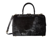 Alice Olivia Croc Embossed Haircalf Eloise Bowler Bag Black Handbags