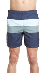 Men's Original Penguin Colorblock Stripe Volley Swim Trunks