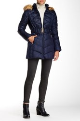 Jessica Simpson Belted Faux Fur Trimmed Jacket Blue