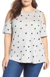Vince Camuto Plus Size Women's Polka Dot Jersey Cold Shoulder Top