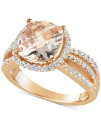 Macy's Morganite 3 Ct. T.W. And Diamond 1 2 Ct. T.W. Split Shank Ring In 14K Rose Gold