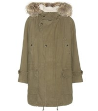 Saint Laurent Cotton And Linen Parka With Fur Trimmed Hood Green