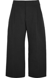 Marni Cropped Cotton Twill Wide Leg Pants Black