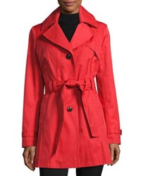 Via Spiga Water Resistant Belted Trench Coat Red
